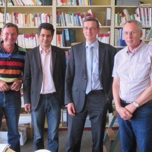 v.l.n.r:  Klaus Hilger (stellv. Schulleiter), Georg A. Mahr (Vorsitzender SPD-Kreistagsfraktion), Martin Rabanus (MdB), Karl-Heinz Drollinger (Schulleiter)